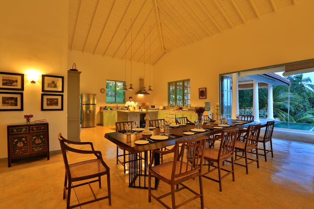 Indoor dining area and kitchen