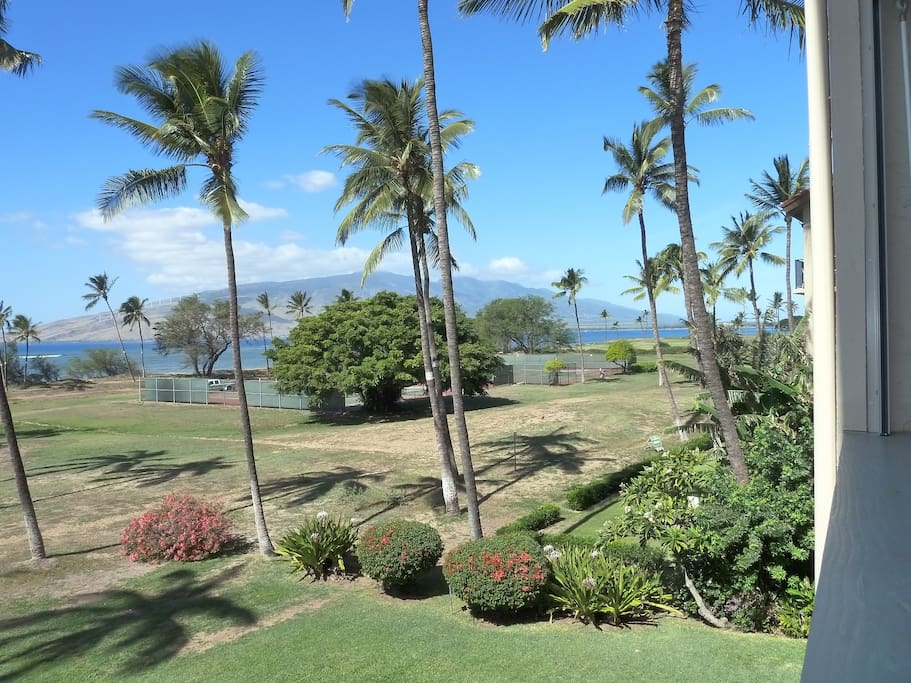 View from balcony with West Maui Mtns in background.