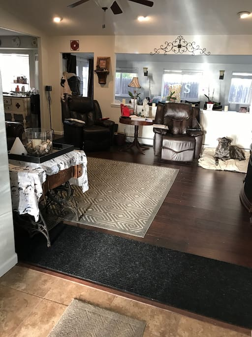 Open floor plan, comfortable living room, dining room, kitchen with island seating and eat in kitchen.  Easy access to patio and back yard