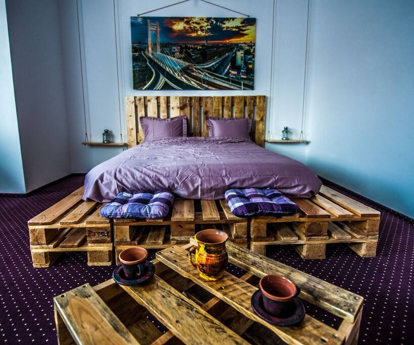 Coffee table & Large bed