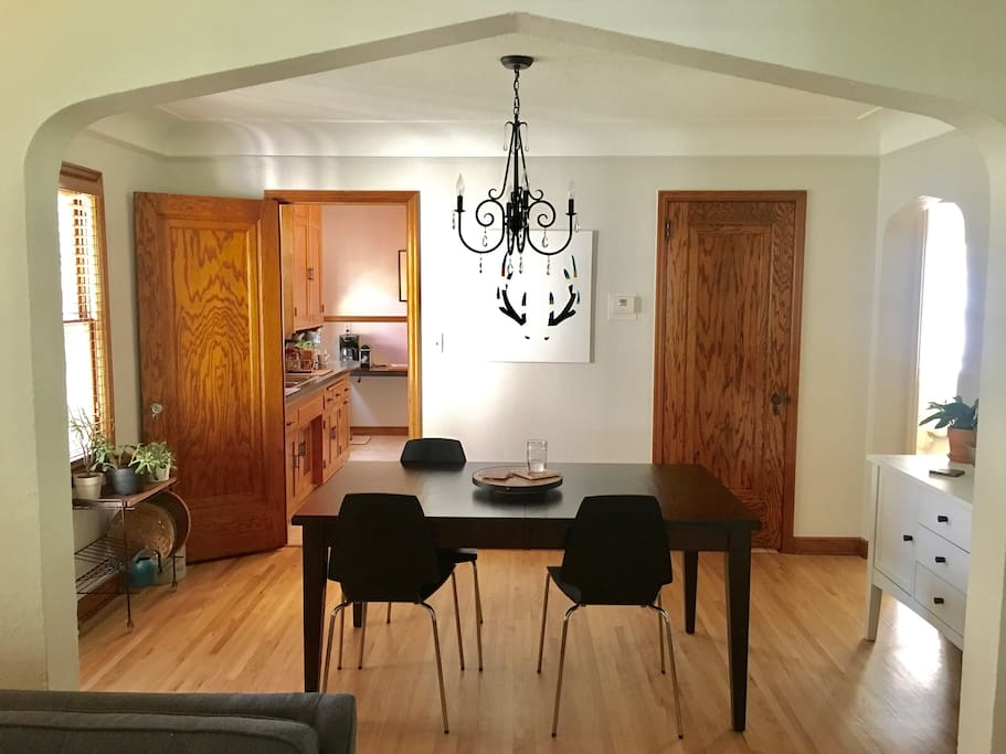 Spacious dining room with extendable table and more chairs if needed