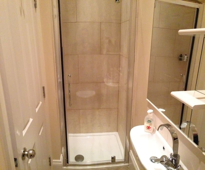 The ensuite has a large shower cubical
