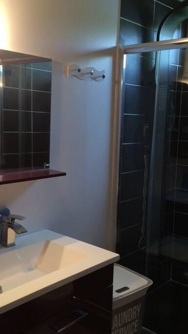 Sdb avec grande douche à jets massants