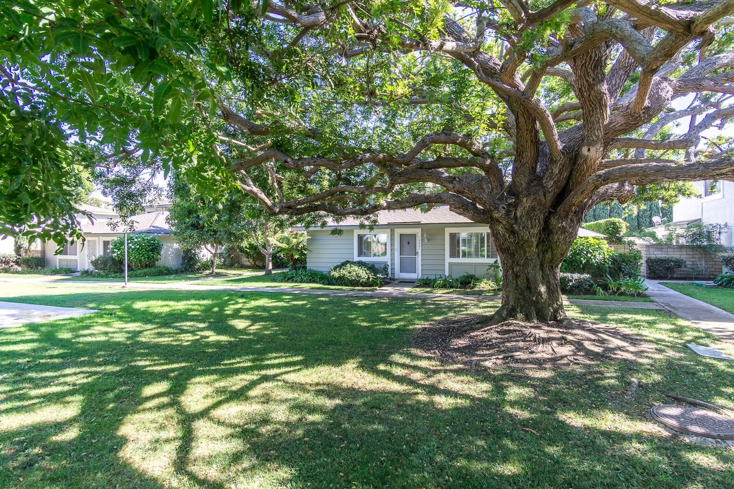 Private cottage single level. Quaint and quiet location with lush landscaping and grassy areas.  Short under 5 minute drive to white sandy beaches.