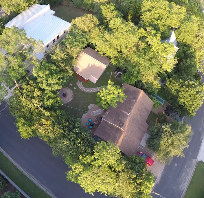 Overhead view of the house and studio.