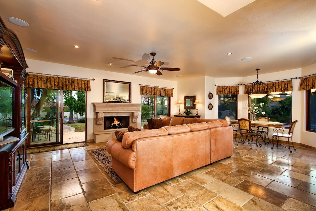 Spacious Living Room with Large TV