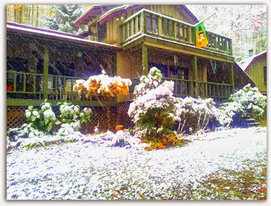 Fall and snow falling making the landscape extra special.  A Breath of Fresh Air is waiting on your visit.