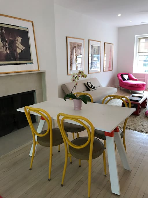 Table with 4 chairs for dinner with friends or a makeshift office