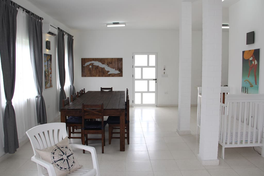 Dining and living area, back door