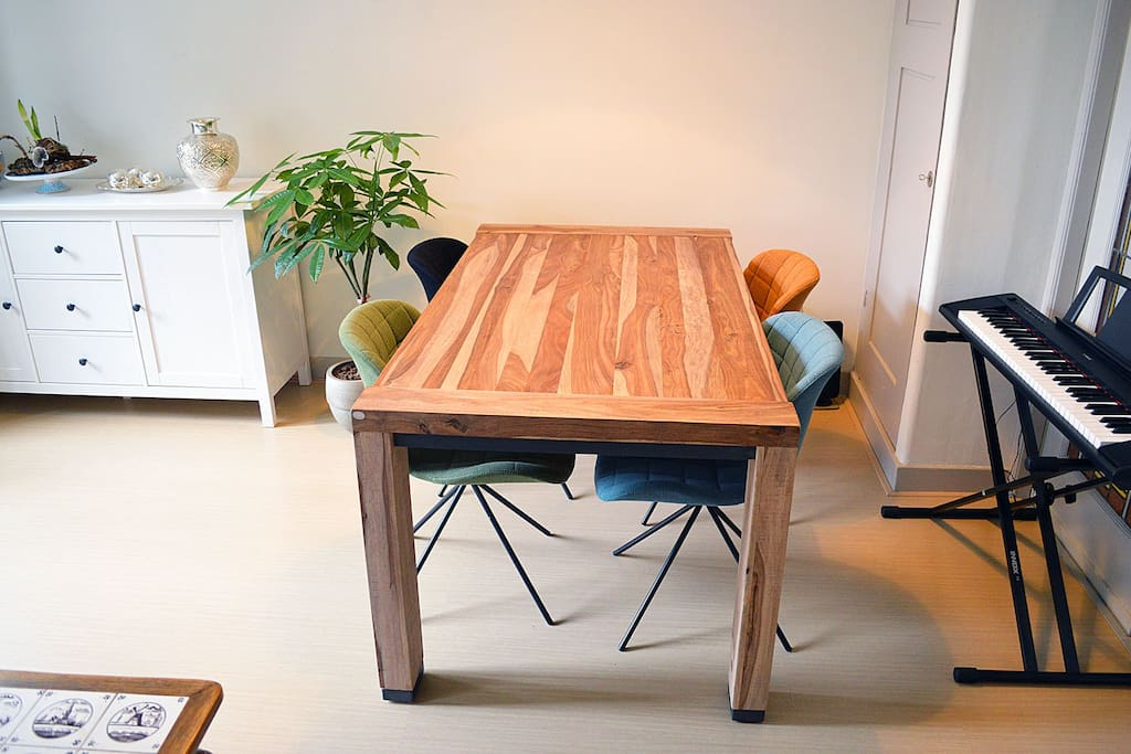 Enjoy your meal on this great wooden dinner table