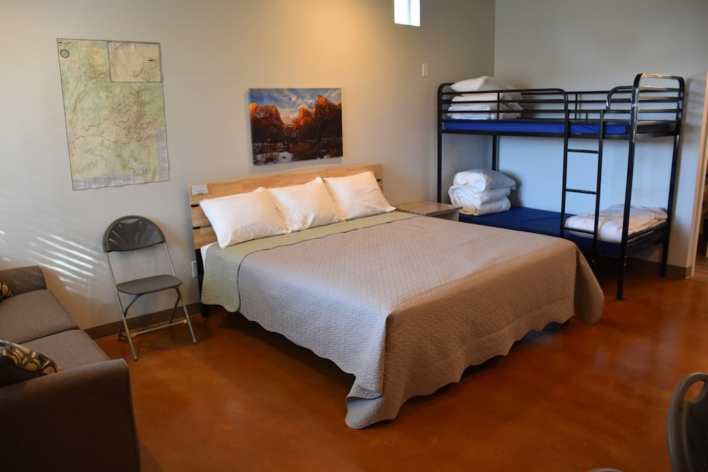 The bunkhouses are clean and simple. They sleep four on a king bed and bunkbed