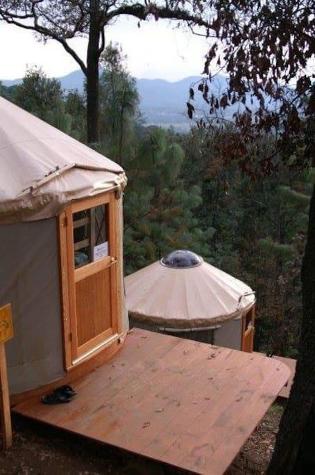 Yurts cómodos rodeados de naturaleza. / Comfortable yurts surrounded by nature.