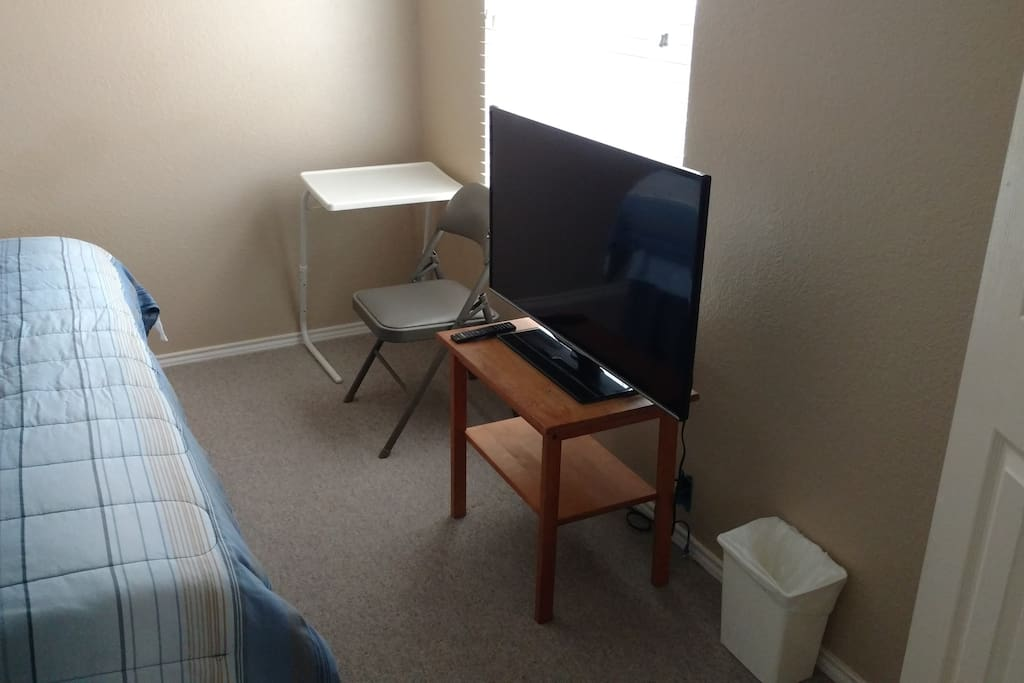 TV, Desk, and Chair