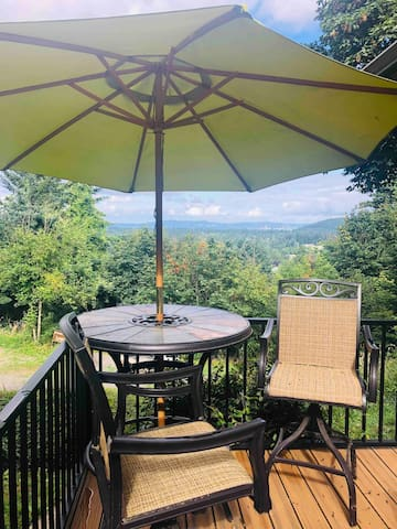 Outdoor dining on the shared main house deck is open to the apartment guests as well. This is a favorite breakfast spot with panoramic city views.