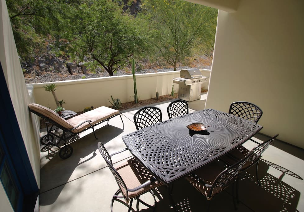 Secluded patio. Outdoor seating for six. Chaise lounge. Deluxe BBQ Grill.