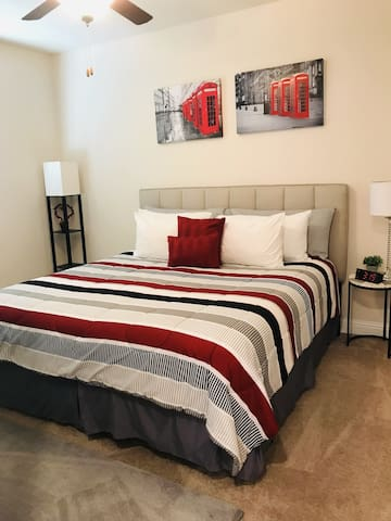 New King size bed with pillow top mattress.