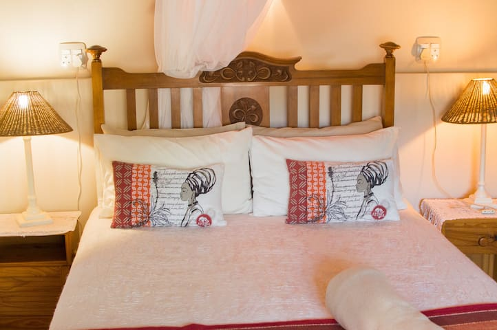 The private bedroom comprises of a double bed