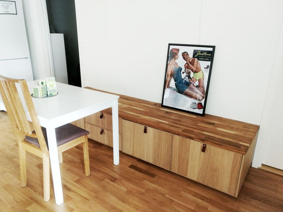 Dining table. Can also be used as a work space.