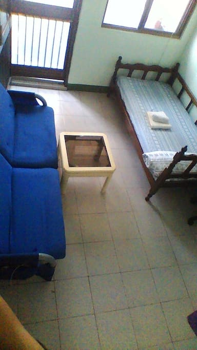 A navy blue sofa (3-Person)
