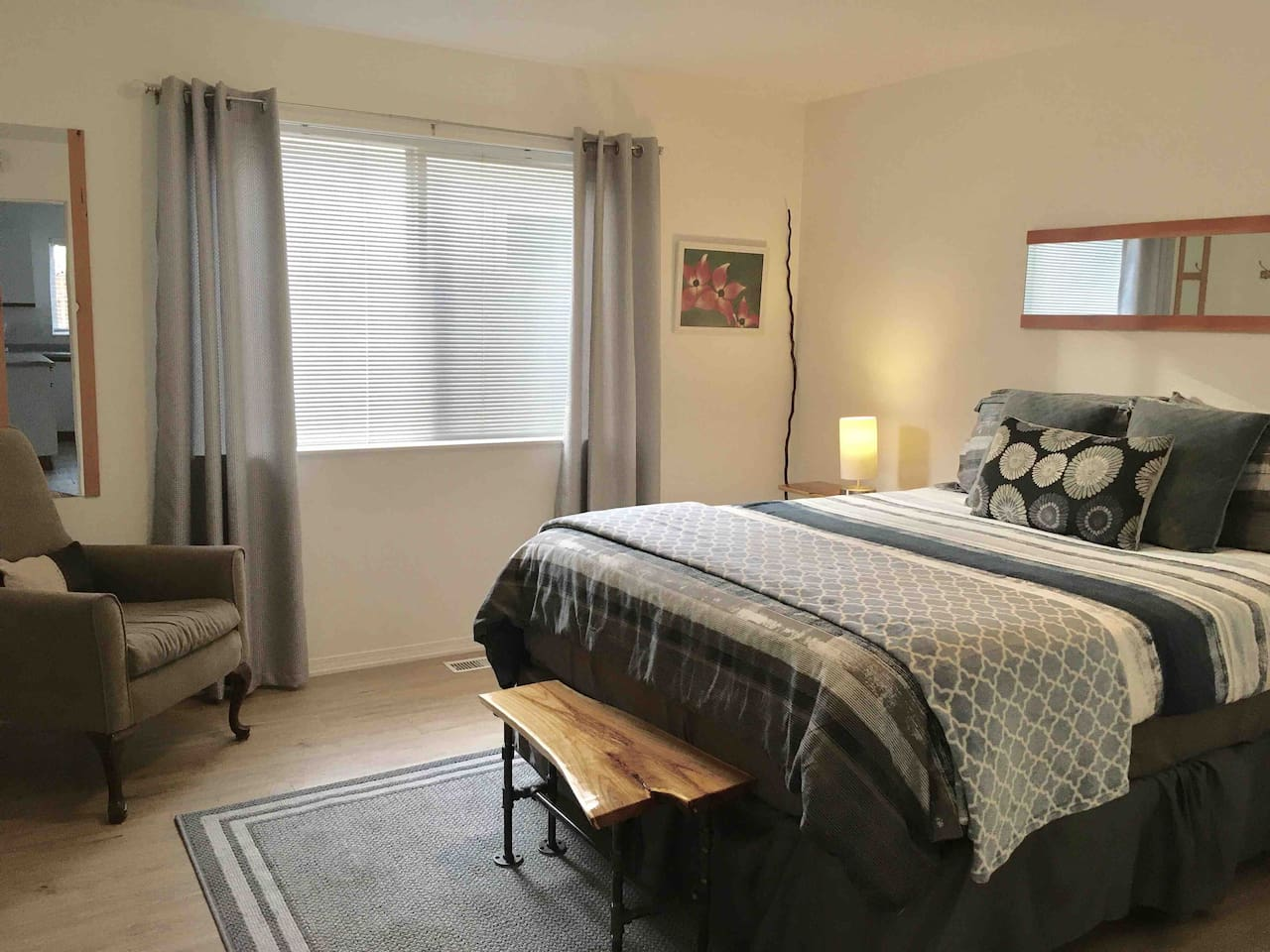 Master bedroom has a comfy queen bed and private en-suite bathroom