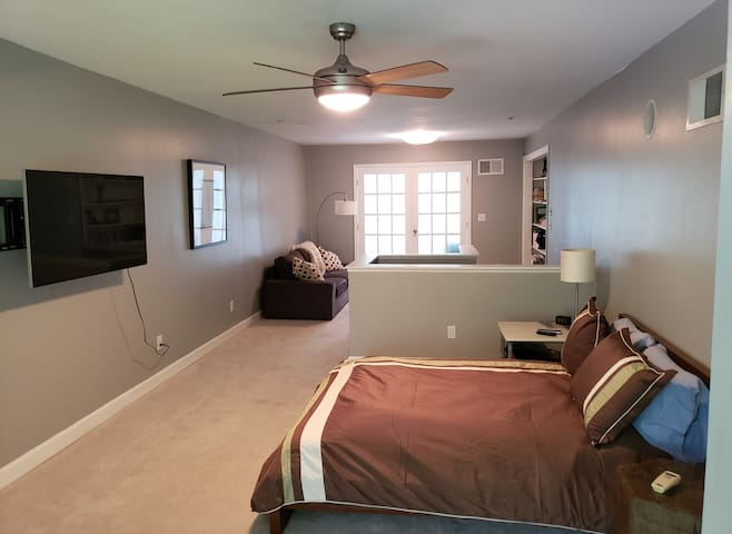 Loft with a couch, Full Bed, TV, Ceiling Fan, Full Bath