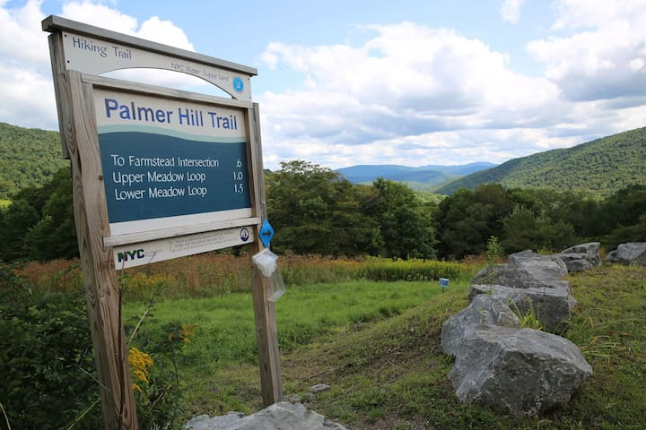 Palmer Hill Trail offers sweeping views of the Catskills. 1 mile from the house.