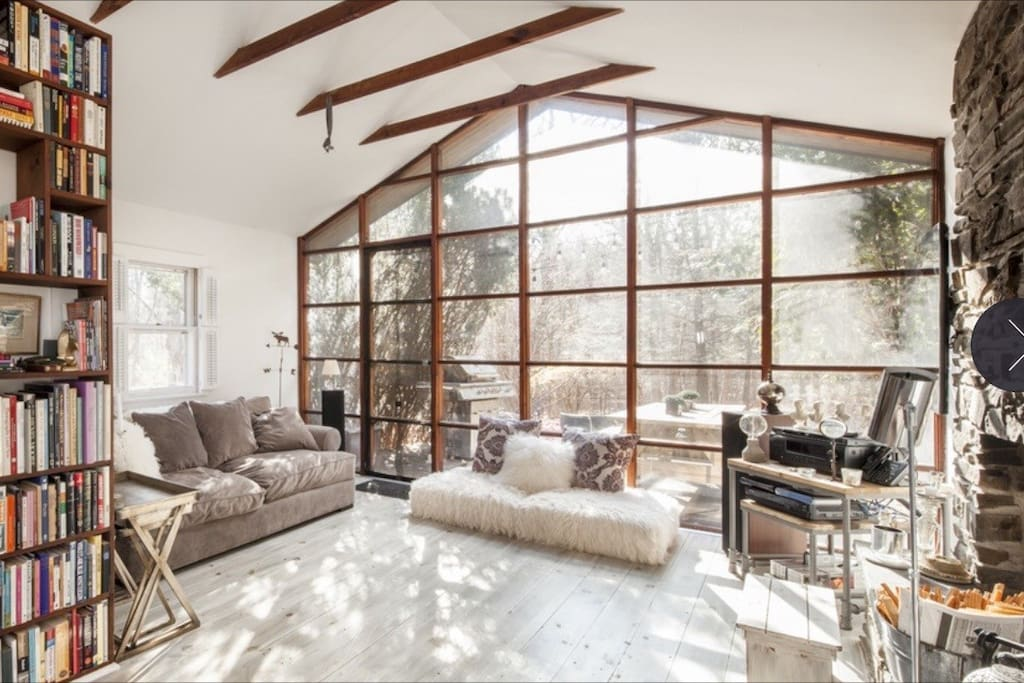 living room - best view through a wall of glass windows