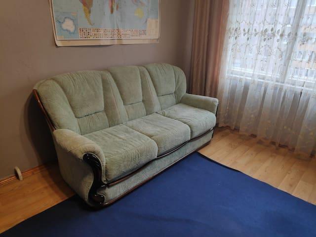Диван в общей комнате с хозяевами, м. Могилевская