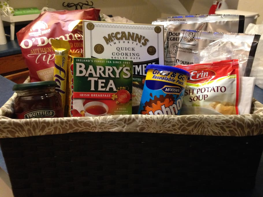 Each guest receives an Irish food basket.  Contents may vary depending on length of stay.