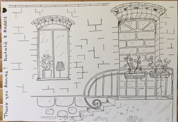 We had a very talented artist staying with us and she made this lovely drawing of the entrance to the apartment