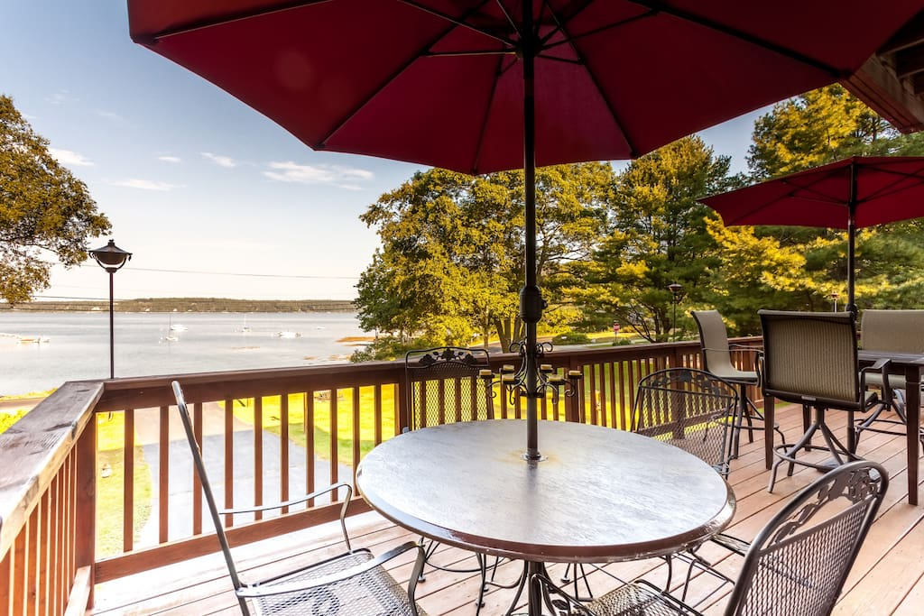 Watch the boats on Linekin Bay as you relax in the shade of the deck.