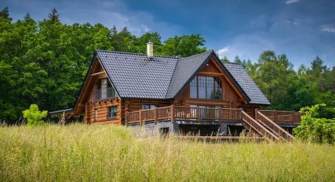 Lyxig stuga på Jestřebice ranch
