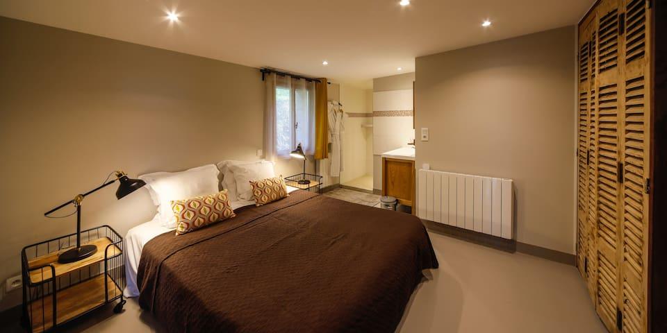 Chambre lit 160 ou 2 lits 80 avec sa salle de bain attenante (grande douche italienne)