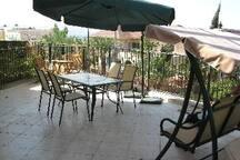 winter scene of patio