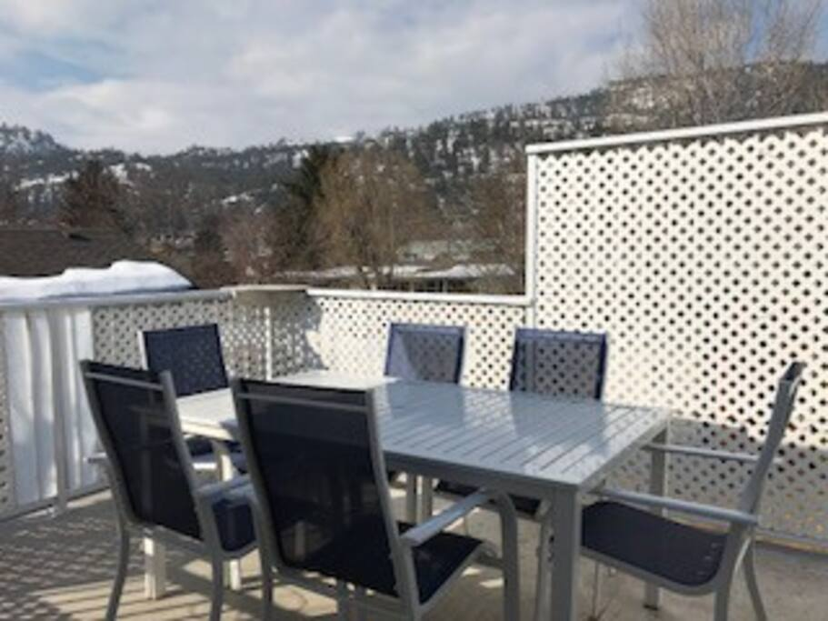 Deck with view of mountains.