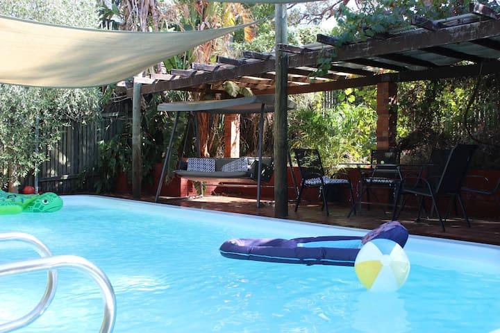 Shady pool area.