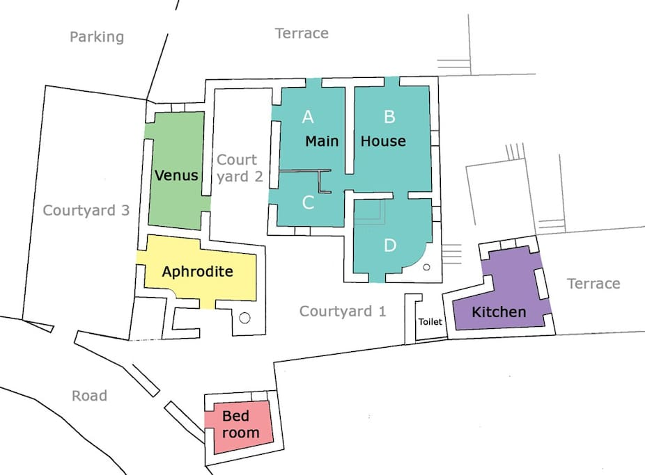 House floor plan (pictures of rooms are referred to using this map)