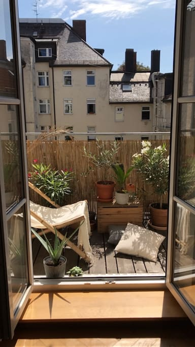 sunny and flowery balcony