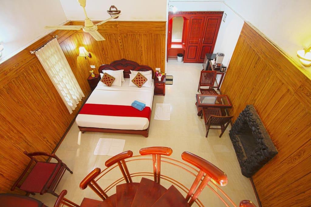 Top view of the bedroom