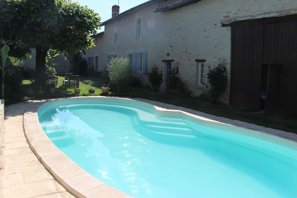Grande piscine aux beaux jours.