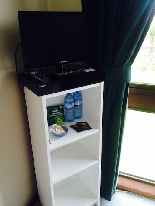 TV and DVD player provided. You're welcome to bring your own DVDs.