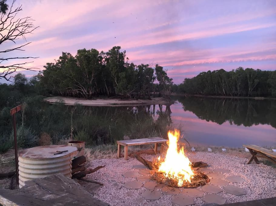 Outdoor paved firepit area with a view! - and wood ;) - image Jess Avery