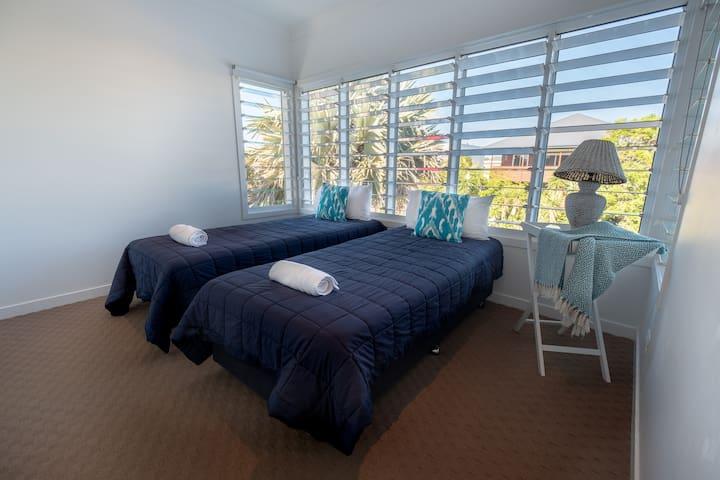 Upstairs Bedroom 2  2 x King Single Beds