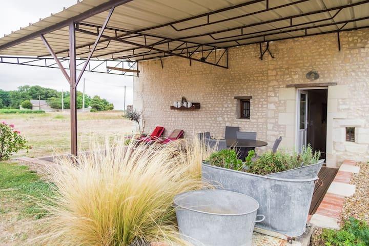 Former farm renovated with nice gardens, wine region near La Tour-Saint-Gelin