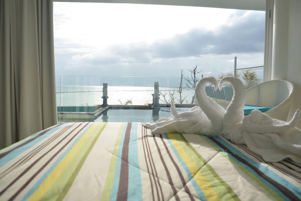 Masters bedroom pool and ocean view