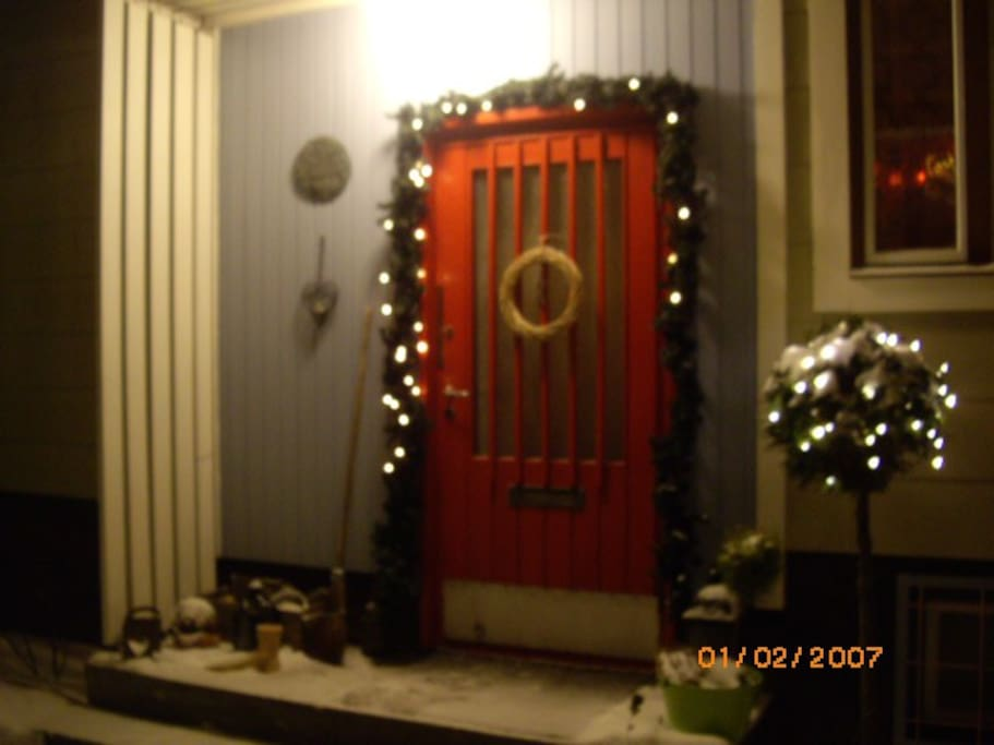 Front entrance during Christmas time.