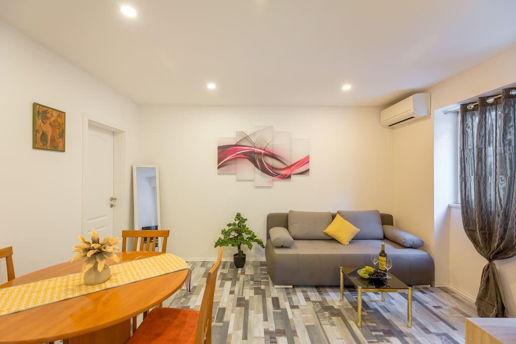 sofa bed, air-condition , free WiFi, flet screen TV with cable channels :)