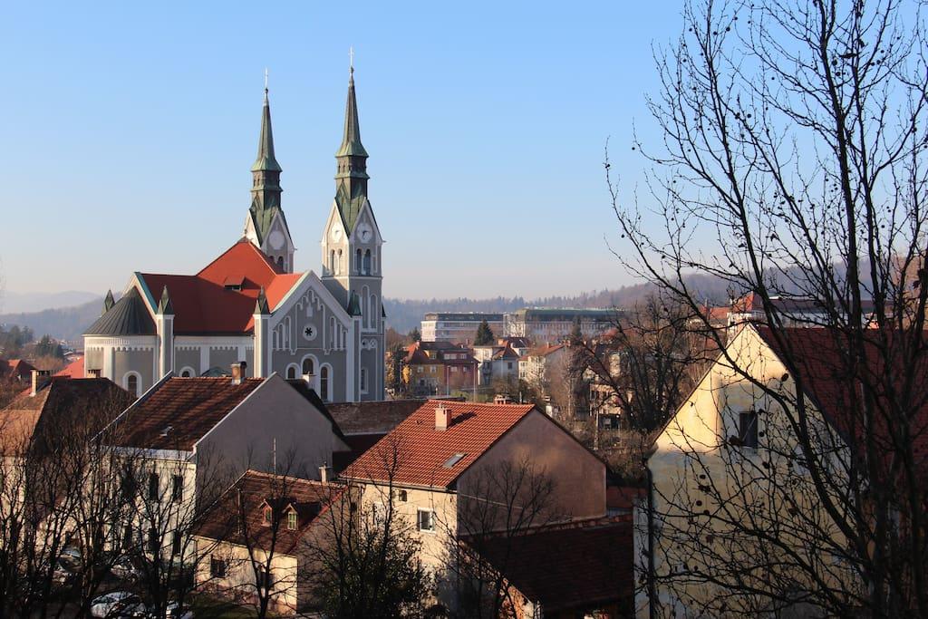 View from the balcony to the Trnovska church.