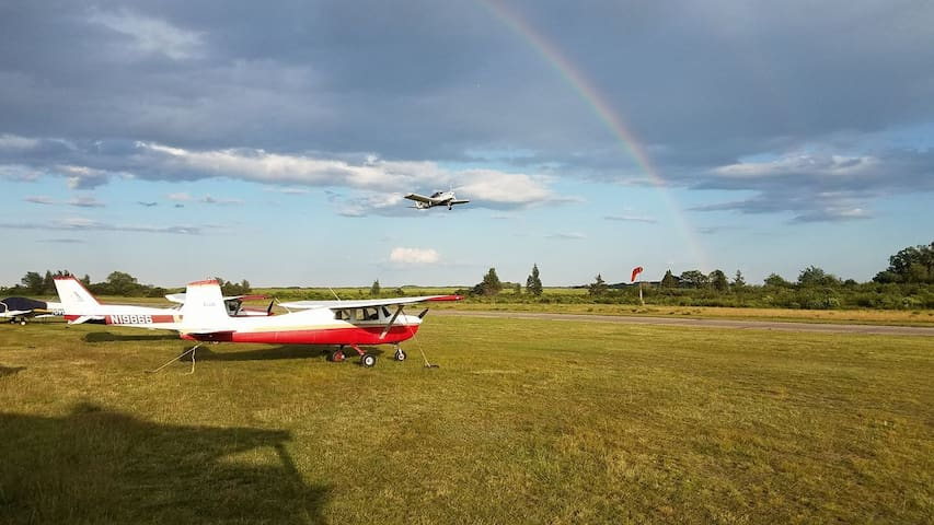 Plum Island Airport owned by Historic New England is a wonderful place for picnicking while watching airplanes take off and land.