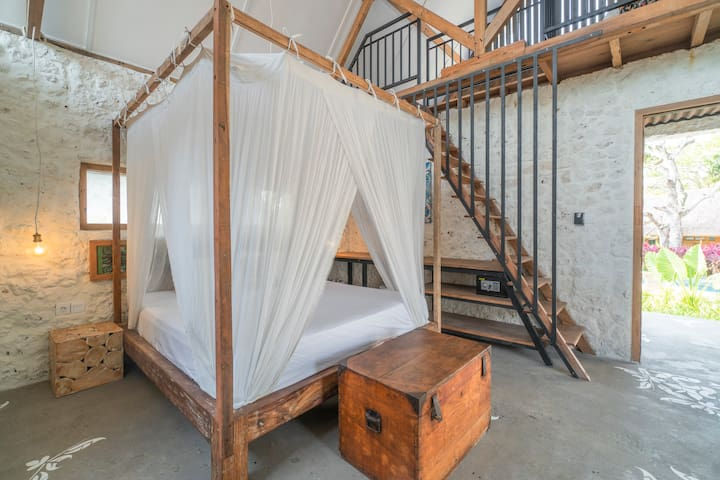 Gleam Room w/ Loft & Canopy Bed Inside Stone House